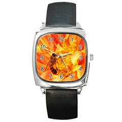 Honey Bee Takes Nectar Square Metal Watch