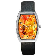 Honey Bee Takes Nectar Barrel Style Metal Watch