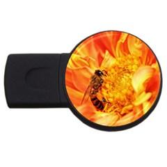 Honey Bee Takes Nectar USB Flash Drive Round (4 GB)
