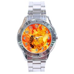 Honey Bee Takes Nectar Stainless Steel Analogue Watch