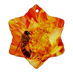 Honey Bee Takes Nectar Snowflake Ornament (two Sides)