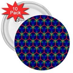 Honeycomb Fractal Art 3  Buttons (10 pack)