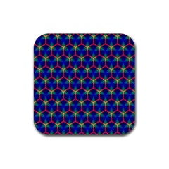 Honeycomb Fractal Art Rubber Square Coaster (4 pack)
