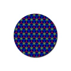 Honeycomb Fractal Art Rubber Round Coaster (4 pack)
