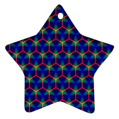 Honeycomb Fractal Art Star Ornament (Two Sides)