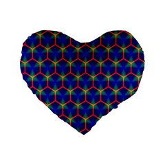 Honeycomb Fractal Art Standard 16  Premium Heart Shape Cushions