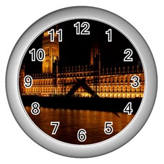 Houses Of Parliament Wall Clocks (Silver)