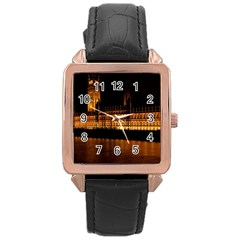 Houses Of Parliament Rose Gold Leather Watch