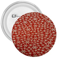 Holiday Snow Snowflakes Red 3  Buttons