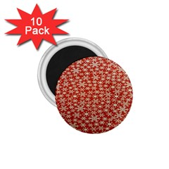 Holiday Snow Snowflakes Red 1.75  Magnets (10 pack)