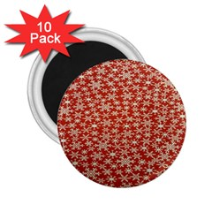 Holiday Snow Snowflakes Red 2 25  Magnets (10 Pack)