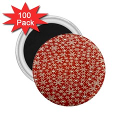 Holiday Snow Snowflakes Red 2.25  Magnets (100 pack)