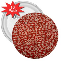 Holiday Snow Snowflakes Red 3  Buttons (10 pack)