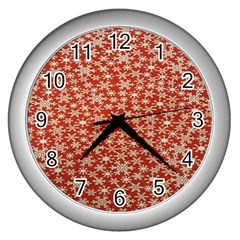 Holiday Snow Snowflakes Red Wall Clocks (Silver)