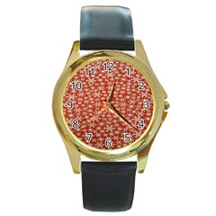 Holiday Snow Snowflakes Red Round Gold Metal Watch