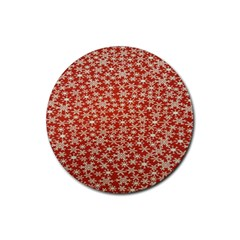 Holiday Snow Snowflakes Red Rubber Round Coaster (4 pack)