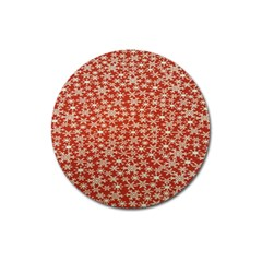 Holiday Snow Snowflakes Red Magnet 3  (Round)