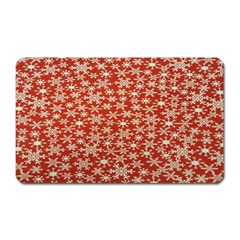 Holiday Snow Snowflakes Red Magnet (rectangular)
