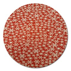 Holiday Snow Snowflakes Red Magnet 5  (Round)
