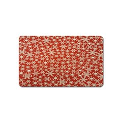 Holiday Snow Snowflakes Red Magnet (Name Card)