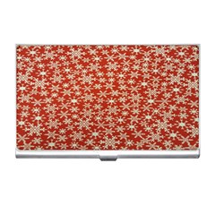 Holiday Snow Snowflakes Red Business Card Holders