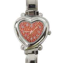 Holiday Snow Snowflakes Red Heart Italian Charm Watch