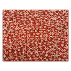 Holiday Snow Snowflakes Red Rectangular Jigsaw Puzzl