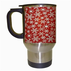 Holiday Snow Snowflakes Red Travel Mugs (white)