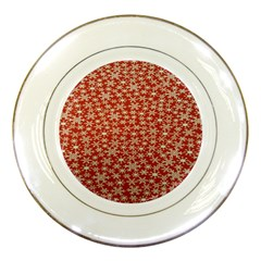 Holiday Snow Snowflakes Red Porcelain Plates