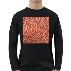 Holiday Snow Snowflakes Red Long Sleeve Dark T-Shirts