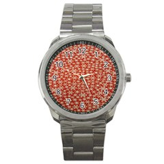 Holiday Snow Snowflakes Red Sport Metal Watch