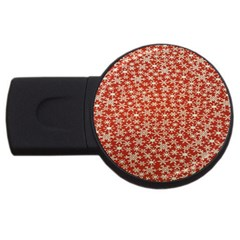 Holiday Snow Snowflakes Red USB Flash Drive Round (4 GB)