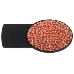 Holiday Snow Snowflakes Red USB Flash Drive Oval (4 GB)
