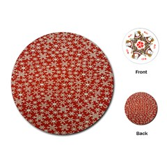 Holiday Snow Snowflakes Red Playing Cards (Round)