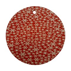 Holiday Snow Snowflakes Red Round Ornament (Two Sides)