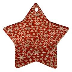 Holiday Snow Snowflakes Red Star Ornament (Two Sides)