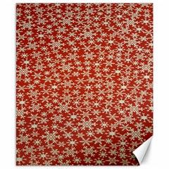 Holiday Snow Snowflakes Red Canvas 8  x 10