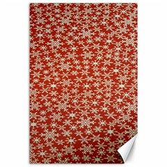 Holiday Snow Snowflakes Red Canvas 24  X 36
