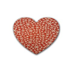 Holiday Snow Snowflakes Red Heart Coaster (4 pack)