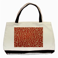 Holiday Snow Snowflakes Red Basic Tote Bag (Two Sides)