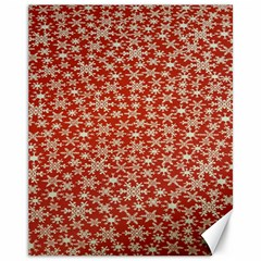 Holiday Snow Snowflakes Red Canvas 11  x 14