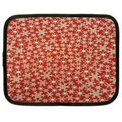 Holiday Snow Snowflakes Red Netbook Case (Large)