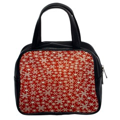 Holiday Snow Snowflakes Red Classic Handbags (2 Sides)
