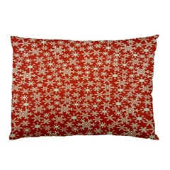 Holiday Snow Snowflakes Red Pillow Case