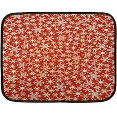 Holiday Snow Snowflakes Red Double Sided Fleece Blanket (mini)