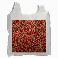 Holiday Snow Snowflakes Red Recycle Bag (One Side)