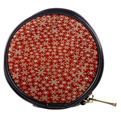 Holiday Snow Snowflakes Red Mini Makeup Bags