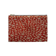 Holiday Snow Snowflakes Red Cosmetic Bag (medium)