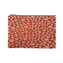 Holiday Snow Snowflakes Red Cosmetic Bag (large)