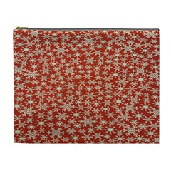 Holiday Snow Snowflakes Red Cosmetic Bag (XL)